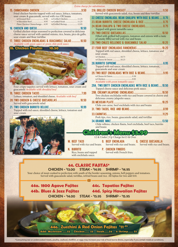 El Agave Mexican Restaurant dinner menu page one