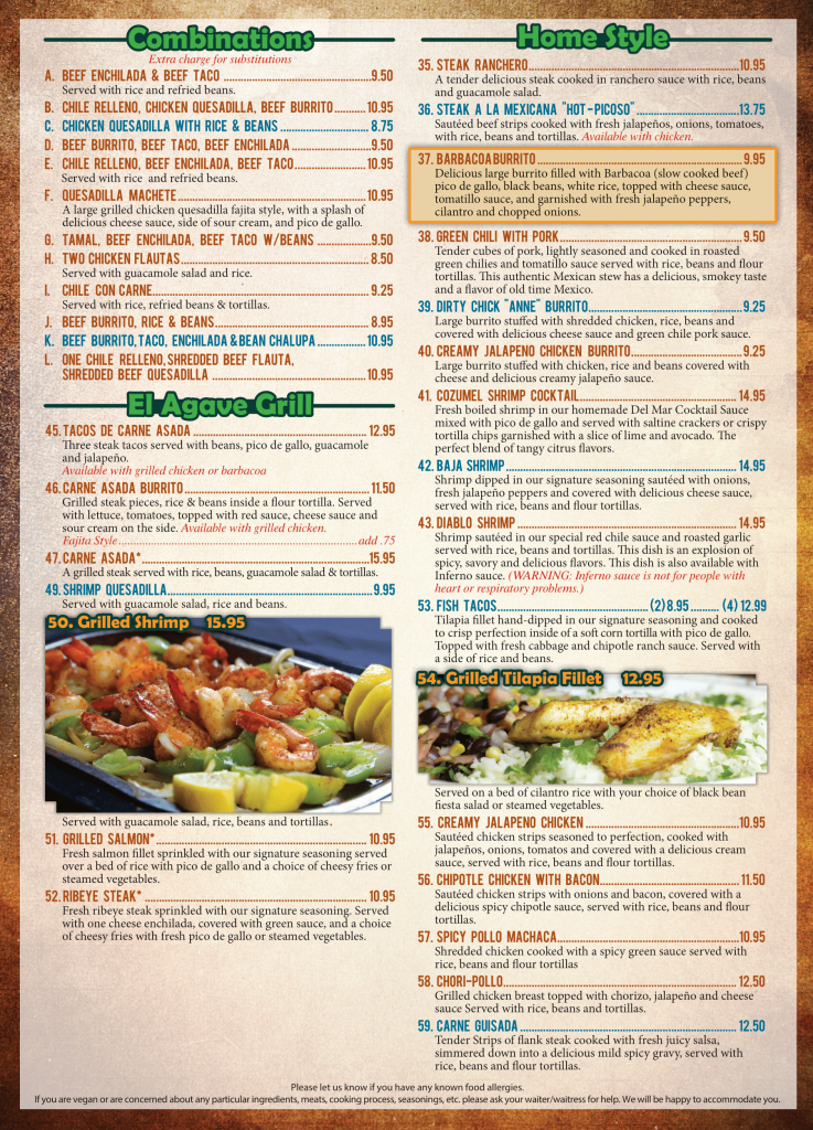 El Agave Mexican Restaurant dinner menu page two