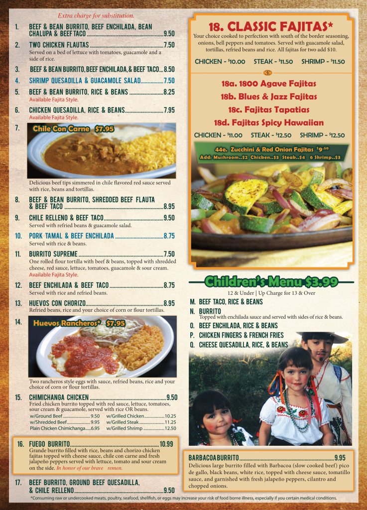 El Agave Mexican Restaurant lunch menu page one