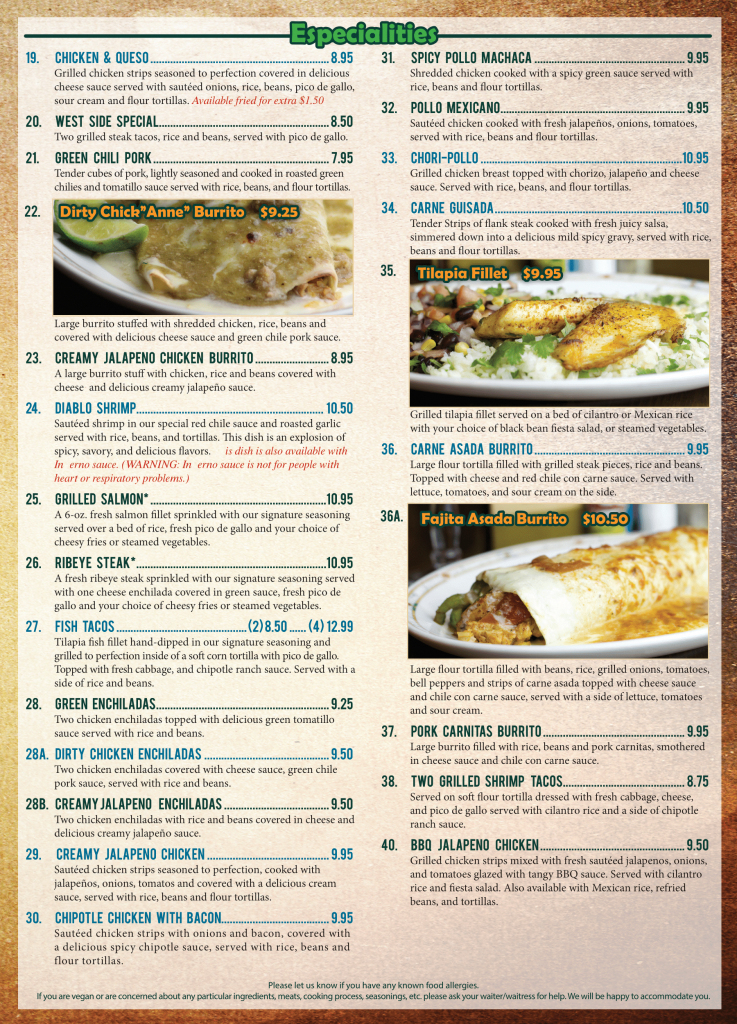 El Agave Mexican Restaurant lunch menu page two
